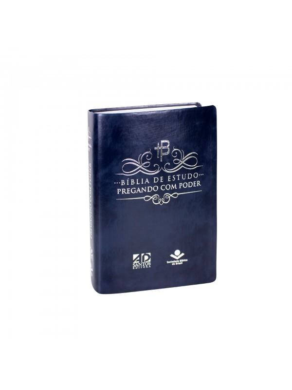 Bíblia De Estudo Pregando Com Poder (capa Azul nobre)